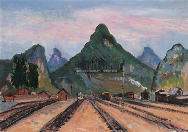 金秀县城郊的山村 布面  油画 - 140418 - 华人西画 - 2006年度大型经典艺术品拍卖会 -收藏网