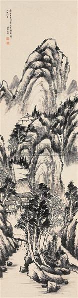 水墨山水 立轴 纸本 - 6128 - 中国书画(下) - 2010瑞秋艺术品拍卖会 -收藏网