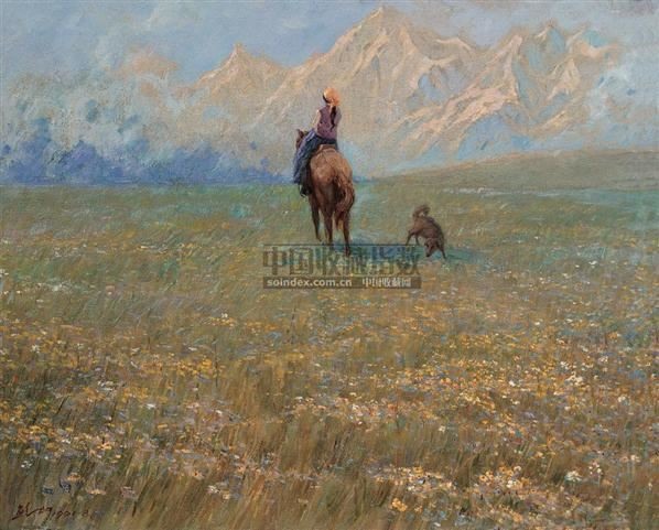 雪山草地 布面  油画 - 140046 - 华人西画 - 2006年度大型经典艺术品拍卖会 -收藏网