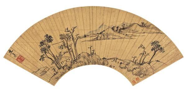 文  嘉(1501~1583)  平林远岫 -  - 中国书画金笺扇面 - 2005年首届大型拍卖会 -收藏网