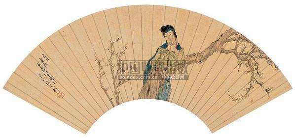 任  薰(1835~1893)  仕女图 -  - 中国书画金笺扇面 - 2005年首届大型拍卖会 -收藏网