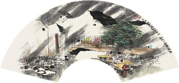 山水 扇片 纸本 - 6147 - 中国书画(上) - 2010瑞秋艺术品拍卖会 -收藏网