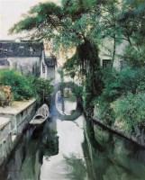 水乡晨曦 布面  油画 - 潘鸿海 - 华人西画 - 2006年度大型经典艺术品拍卖会 -收藏网