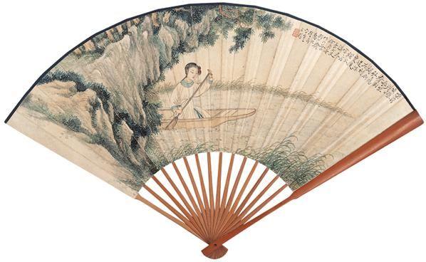 秋渡 书法 成扇 设色纸本 -  - 扇画·古代书画专场 - 2006夏季书画艺术品拍卖会 -中国收藏网