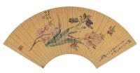 张  熊(1803~1886)、倪  耘(清)  碧桃蝴蝶图 -  - 中国书画金笺扇面 - 2005年首届大型拍卖会 -收藏网