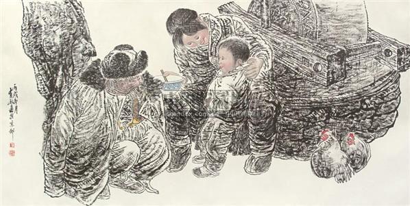 """农家乐 镜片 设色纸本 - 5448 - 中国书画 - 2010""""清花岁月""""冬季大型艺术品拍卖会 -收藏网"""