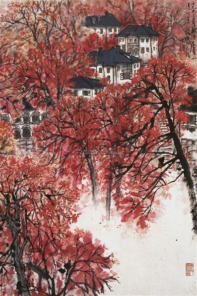 庐山秋艳 立轴 设色纸本 - 5002 - 中国书画一 - 2010秋季艺术品拍卖会 -收藏网