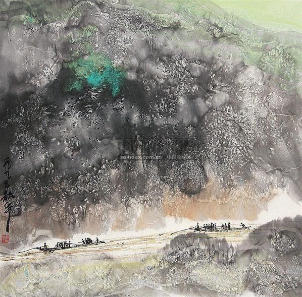 山水人物 镜片 纸本 - 109997 - 中国书画(下) - 2010瑞秋艺术品拍卖会 -收藏网
