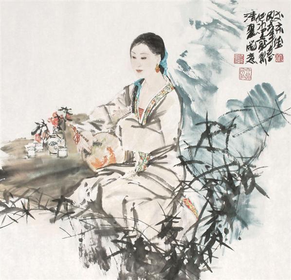 倪冰 品茗图 镜心 - 146352 - 中国书画,油画 - 2006艺术精品拍卖会