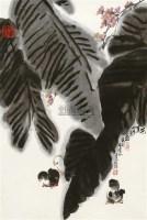 杜应强/芭蕉小鸟扇面设色纸本