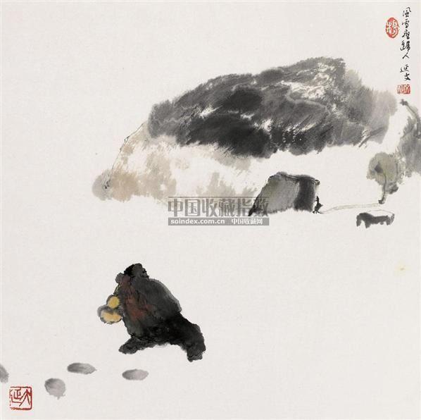 风雪夜归人 镜心 设色纸本 - 6147 - 中国书画(一) - 2010年秋季艺术品拍卖会 -收藏网