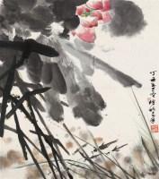 荷花 镜心 设色纸本 - 舒传曦 - 当代书画 - 2006夏季书画艺术品拍卖会 -中国收藏网