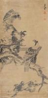 双鹰 立轴 纸本水墨 - 八大山人 - 中国古代书画  - 2010秋季艺术品拍卖会 -收藏网