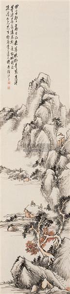 山水 立轴 纸本设色 - 7123 - 中国古代书画  - 2010秋季艺术品拍卖会 -收藏网