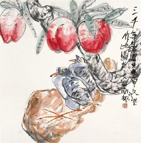 仙桃 镜片 设色纸本 - 118346 - 中国书画 - 2010秋季艺术品拍卖会 -收藏网