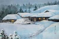 雪景 纸本水彩 - 19497 - 中国油画  - 2010年秋季艺术品拍卖会 -收藏网