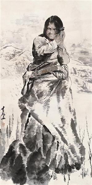 藏族女孩 立轴 设色纸本 - 5448 - 中国书画 - 2010秋季艺术品拍卖会 -收藏网