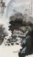 小溪人家 立轴 设色纸本 - 罗国士 - 中国书画(一) - 2010年秋季艺术品拍卖会 -收藏网