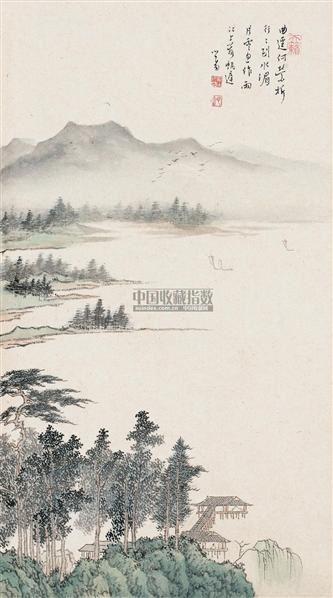 寒玉堂山 镜片 设色纸本 - 1518 - 中国近现代书画(一) - 2010秋季艺术品拍卖会 -收藏网