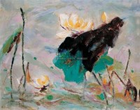 白荷 布面  油画 - 鸥洋 - 华人西画 - 2006年度大型经典艺术品拍卖会 -收藏网