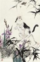 花卉猫戏图 立轴 设色纸本 - 江寒汀 - 中国书画 - 2010年秋季拍卖会 -收藏网