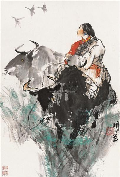 牧归图 镜片 设色纸本 - 67957 - 中国书画 - 2010秋季艺术品拍卖会 -收藏网