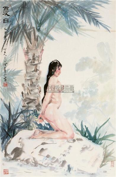 夏日 镜框 设色纸本 - 1356 - 国画 陶瓷 玉器 - 2010秋季艺术品拍卖会 -收藏网