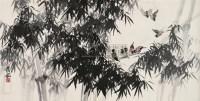 竹林雀语 横幅 设色纸本 - 罗铭 - 中国书画(二) - 2010年秋季艺术品拍卖会 -收藏网