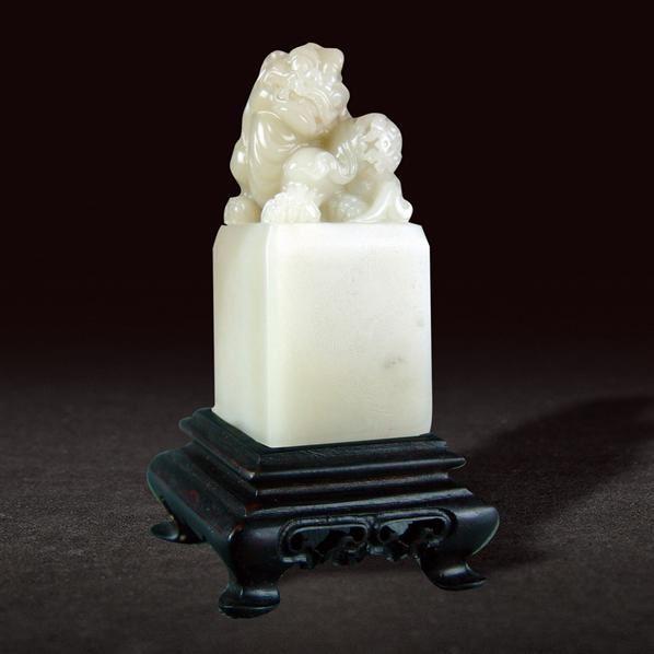 寿山芙蓉狮子绣球钮方章 -  - 国石精粹专场 - 北京嘉缘四季艺术品拍卖会 -收藏网