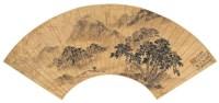 张  翮(明)  春云过雨图 -  - 中国书画金笺扇面 - 2005年首届大型拍卖会 -收藏网