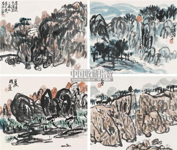 山水 (四帧) 镜片 设色纸本 - 4265 - 中国书画一 - 2010年秋季艺术品拍卖会 -收藏网