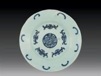 清·乾隆 豆青釉五福捧寿花口盘 -  - 瓷玉珍玩 - 2006艺术精品拍卖会 -收藏网
