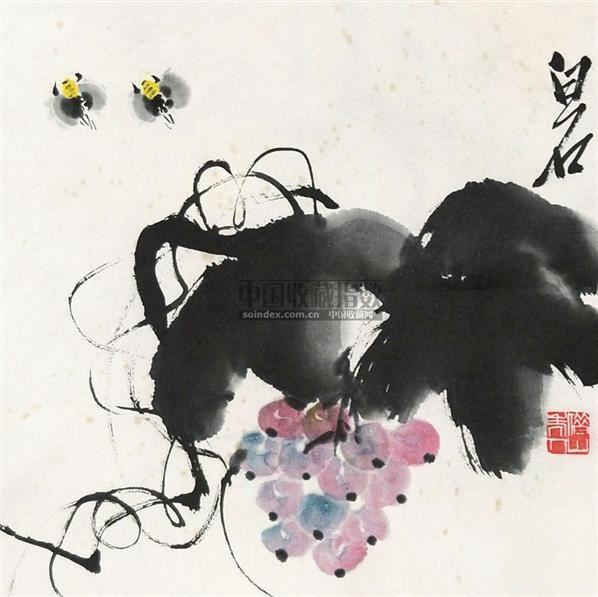 葡萄蜜蜂 镜心 纸本 - 116087 - 中国书画 - 2010年秋季书画专场拍卖会 -收藏网
