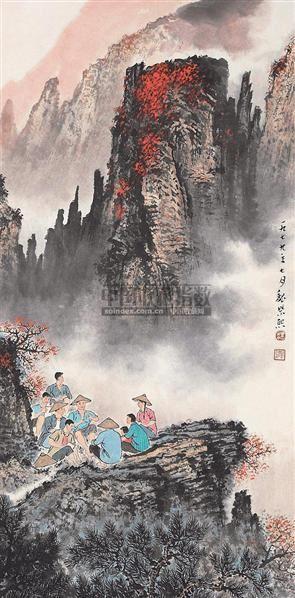 山水人物 立轴 设色纸本 - 20046 - 中国书画 - 2006秋季书画艺术品拍卖会 -收藏网