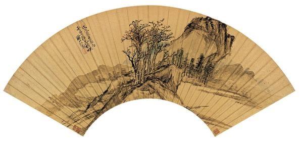汪  乔(清)  山水 -  - 中国书画金笺扇面 - 2005年首届大型拍卖会 -收藏网