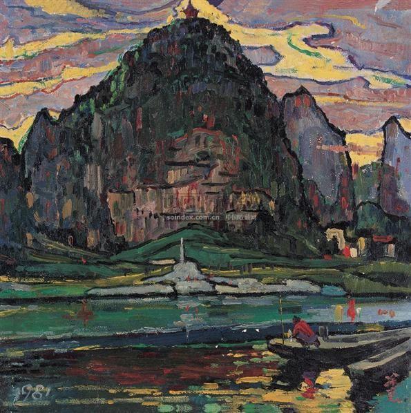 渔船山色 布面  油画 - 140418 - 华人西画 - 2006年度大型经典艺术品拍卖会 -收藏网