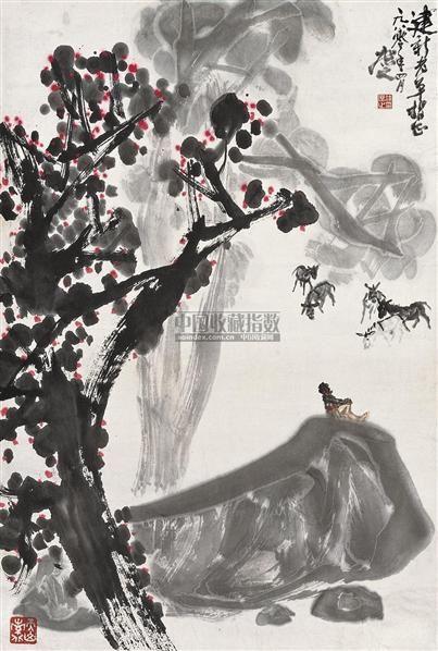 牧驴图 立轴 设色纸本 - 134253 - 中国书画 - 2010秋季艺术品拍卖会 -收藏网