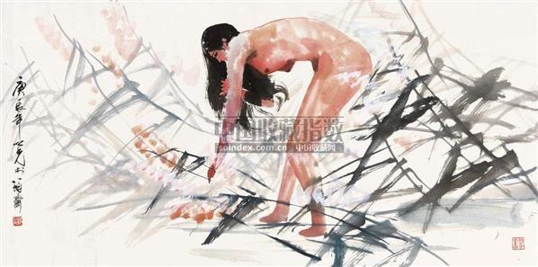 裸女 镜心 纸本设色 - 1356 - 中国当代书画 - 2010秋季艺术品拍卖会 -收藏网