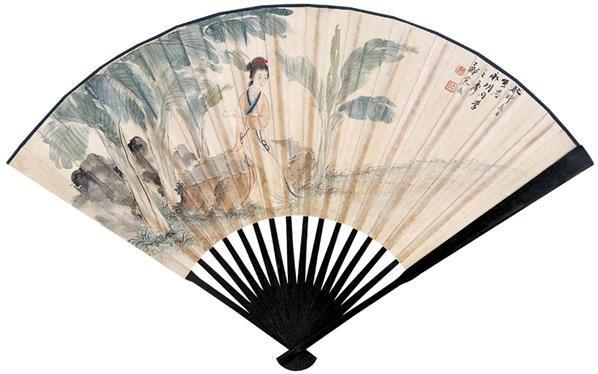 读书 成扇 设色纸本 - 125768 - 扇画·古代书画专场 - 2006夏季书画艺术品拍卖会 -中国收藏网