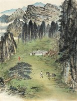 天山牧场 立轴 设色纸本 - 21149 - 中国书画(一) - 2010年秋季艺术品拍卖会 -收藏网