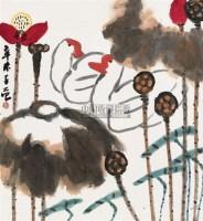 池塘双鹅 镜心 设色纸本 - 崔子范 - 中国书画(一) - 2010年秋季艺术品拍卖会 -收藏网