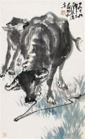 母子牛 立轴 设色纸本 - 张广 - 中国书画 - 第9期中国艺术品拍卖会 -收藏网
