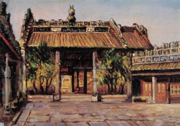 红七军军部旧址 布面  油画 - 140418 - 华人西画 - 2006年度大型经典艺术品拍卖会 -收藏网