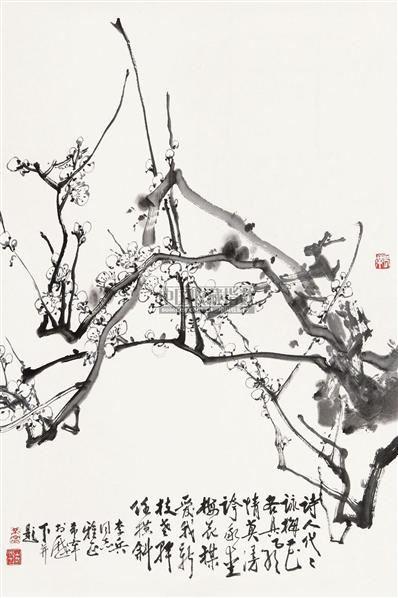 白梅 镜心 纸本水墨 - 128053 - 中国近现代书画  - 2010秋季艺术品拍卖会 -收藏网