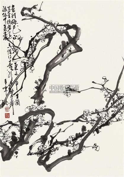 梅花    立轴 水墨纸本 - 128053 - 中国书画 - 2010秋季艺术品拍卖会 -收藏网