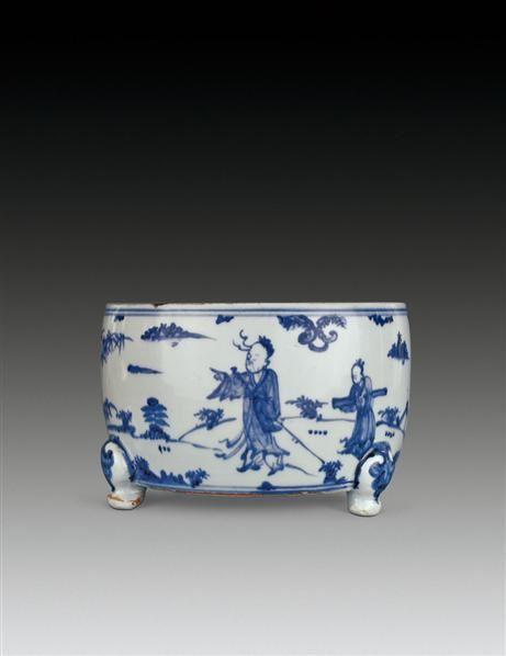 青花高士图筒式炉 -  - 瓷器 - 2010年秋季拍卖会 -收藏网