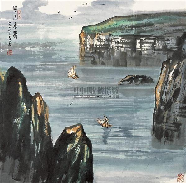 轻舟飞渡 镜框 设色纸本 - 4706 - 中国书画 - 2010秋季艺术品拍卖会 -收藏网