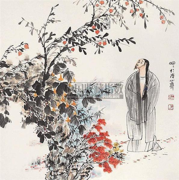 人物 立轴 设色纸本 - 51685 - 中国书画 - 2006秋季书画艺术品拍卖会 -收藏网