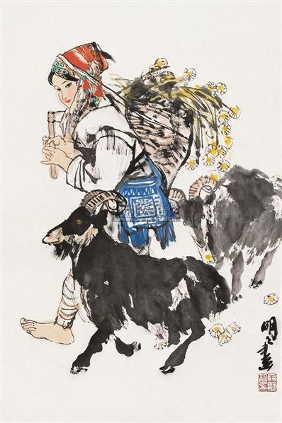 打草归来 镜片 设色纸本 - 67957 - 中国书画 - 2010秋季艺术品拍卖会 -收藏网
