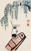 聆听 镜心 设色纸本 - 陈子庄 - 中国书画二·名家小品及书法专场 - 2010秋季艺术品拍卖会 -收藏网